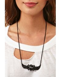 Nasty Gal | Black Winged Skull Necklace | Lyst
