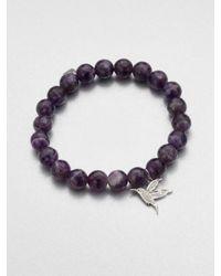 Sydney Evan | Purple Charm Accented Amethyst Beaded Bracelet | Lyst