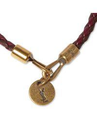 Saint Laurent - Brown Woven Leather Bracelet for Men - Lyst