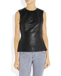 Alexander Wang | Black Pleated Leather Top | Lyst