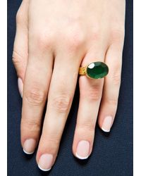 Mango - Green Touch Stone Ring - Lyst