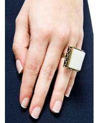 Mango - White Square Stone Ring - Lyst