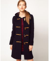 Gloverall | Blue Slim Long Duffle Coat in New Check Back | Lyst