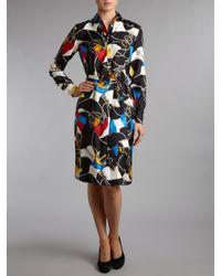 Lauren by Ralph Lauren - Black Sana Silk Printed Shirt Dress - Lyst