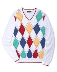 Brooks Brothers - Multicolor Supima Argyle Vneck Sweater for Men - Lyst