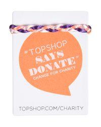 TOPSHOP | Blue Plaited Bracelet For Fashion Targets Breast Cancer | Lyst