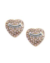 Juicy Couture | Pink Heart Pave Stud Earrings | Lyst