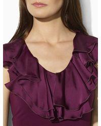 Lauren by Ralph Lauren   Purple Sleeveless Jersey Ruffled Top   Lyst
