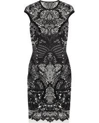 Alexander McQueen | Black Wool blend Intarsia Dress | Lyst