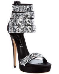 Casadei   Black Swarovski Studded Sandal   Lyst