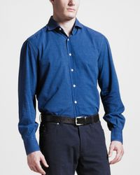 Brunello Cucinelli   Blue Chambray Shirt for Men   Lyst