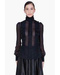 McQ | Black Sheer Victorian Blouse | Lyst