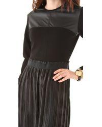 Markus Lupfer - Black Leather Look Pleated Dress - Lyst