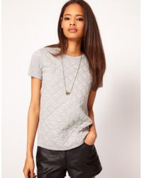 ASOS Collection | Gray Asos T-shirt With Quilted Section | Lyst