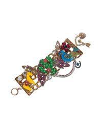 Betsey Johnson | Metallic Gold Tone Cactus Charm Wide Toggle Bracelet | Lyst