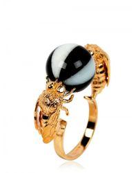 Delfina Delettrez | Metallic Double Bee Ring | Lyst