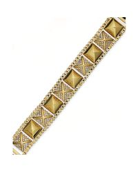 Juicy Couture | Metallic Gold Tone Pave Stud and Box Chain Bracelet | Lyst