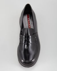 Prada   Black Spazzolato Rubbersole Loafer for Men   Lyst