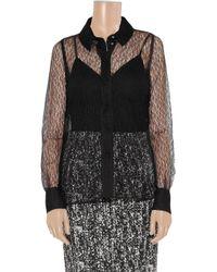 Saint Laurent - Black Polka-dot Flocked Tulle Shirt - Lyst