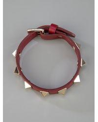 Valentino | Red Studded Leather Bracelet | Lyst