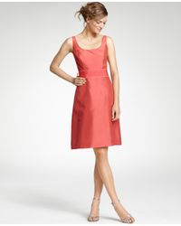 6ba0ec9c3c Ann Taylor Silk Dupioni Scoop Neck Bridesmaid Dress in Pink - Lyst