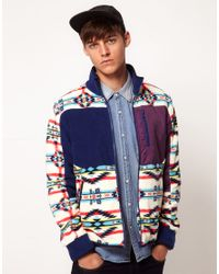 ASOS Multicolor Fleece Jacket with Zip Through Fastening for men