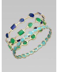 Ippolita | Green 18k Gold Chrysoprase Station Bangle Bracelet | Lyst