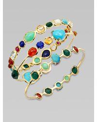 Ippolita | Metallic Semi-precious Multi-stone Station Oval Bangle Bracelet | Lyst