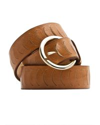Mango | Brown Leather Round Buckle Belt | Lyst