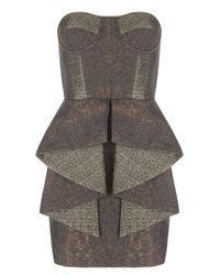 Matthew Williamson | Brown Speckled Weave Frill Bodice Dress | Lyst