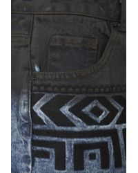 Topshop | Blue Moto Dip Dye Aztec Embroidered Denim Hotpants | Lyst