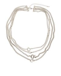 ASOS - Metallic Multi Row Clasp Necklace - Lyst