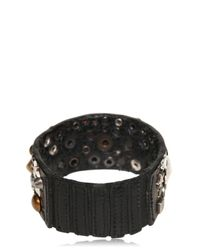 DSquared² - Black 3cm Studded Leather Elasticated Bracelet for Men - Lyst
