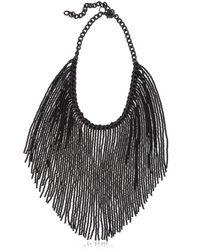 Ellebj | Black Fringe Collar Necklace | Lyst