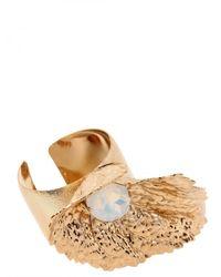 Halaby - Metallic Gold Leaf Bracelet - Lyst