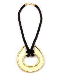 Kenneth Jay Lane - Black Satin Cord Pendant Necklace - Lyst