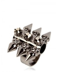 Mawi | Metallic Spiky Tube and Crystal Ring | Lyst