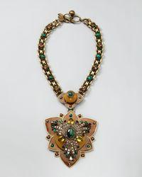 Lanvin | Multicolor Crystal Lotus Pendant Necklace | Lyst