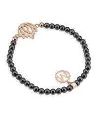 Melissa Odabash - Black Rose Gold Lotus Semiprecious Bracelet - Lyst