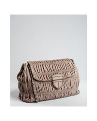 Prada | Brown Mink Ruched Lambskin Chain Strap Shoulder Bag | Lyst