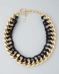Saint Laurent - Black Velvet Chain Necklace - Lyst