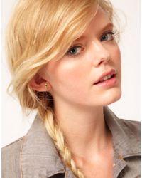 Bing Bang - Metallic Mini Initial A Heart Stud Earrings - Lyst