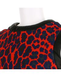 Christopher Kane | Straight Sleeveless Dress in A Bend Of Polyamide and Elastane with A Red Leopard Pattern | Lyst