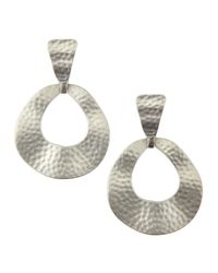 Kenneth Jay Lane | Metallic Hammered Flat Hoop Earrings | Lyst
