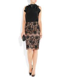Lanvin - Brown Lace Pencil Skirt - Lyst