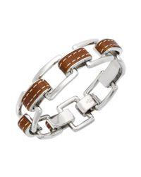 Lauren by Ralph Lauren | Brown Silver Tone Leather Link Bracelet | Lyst