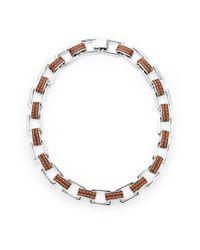 Lauren by Ralph Lauren | Metallic Silver Tone Leather Link Necklace | Lyst