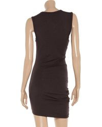 T By Alexander Wang   Brown Draped Stretchjersey Dress   Lyst