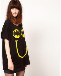 Lazy Oaf | Black X Batman Oversized Tshirt in Happy Bat Print | Lyst