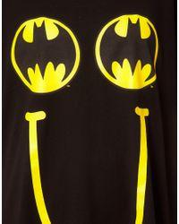 Lazy Oaf   Black X Batman Oversized Tshirt in Happy Bat Print   Lyst